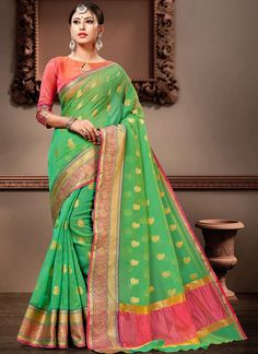 Cotton Silk Green Weaving Designer Bollywood Saree