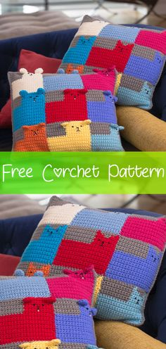Kittens free kittens for sale Crochet Wool, Crochet Crafts, Easy Crochet, Crochet Baby, Crochet Projects, Free Crochet, Crochet Cushion Cover, Crochet Cushions, Crochet Pillow