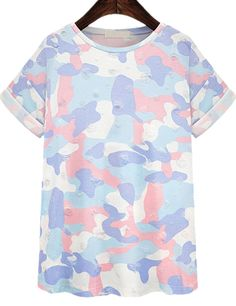 Blue Short Sleeve Camouflage Ripped T-Shirt - Sheinside.com