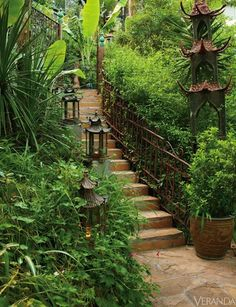 STAIRCASE TO PARADISE LEADS INTO THE GARDEN AT DAWNRIDGE CREATED BY HUTTON WILKINSON AND TONY DUQUETTE