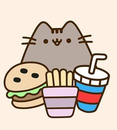 "Theresa on Instagram: ""Yum yum fast food. Once in a while is okay...#adorable #pusheen #pusheens #pusheenlove #pusheencat #pusheenthecat #pusheenplush #love…"" Pusheen Plush, Pusheen Love, Kawaii Potato, Funny Happy, Cute Stickers, Cute Images, Pet Health, Cute Drawings, Kitty"