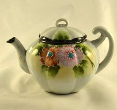 Porcelain Teapot Hand Painted Moriage Beaded by ChicMouseVintage