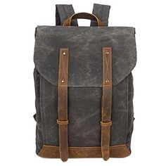 ebd2356763 Men s Waxed Canvas Backpack Casual 15.6