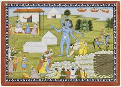 VAMANA (VISHNU) TRANSFORMING INTO TRIVIKRAMA, WITH MAHABALI TOUCHING HIS FEET AND THE GODS SHOWERING BLESSINGS FROM ABOVE