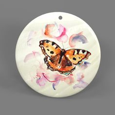 Color Printing Butterfly White Shell Pendant Necklace J1705 0034 #ZL #Pendnat