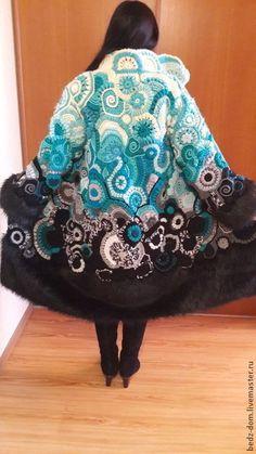 Верхняя одежда ручной работы. Ярмарка Мастеров - ручная работа. Купить Пальто. Handmade. Бирюзовый, пальто вязаное, Вязание крючком