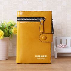Women Oil Leather Short Wallet Vintage Pu Leather Card Holder Purse