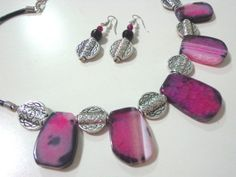 Leather necklace and earrings with hot pink by CharismaBolivia, $85.00