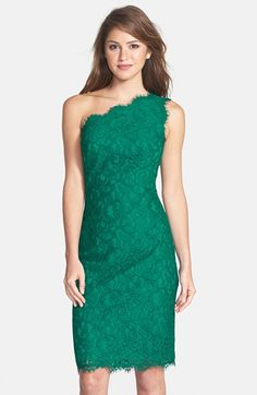 Free shipping and returns on Tadashi Shoji One-Shoulder Lace Sheath Dress at Nordstrom.com. Dainty eyelash fringe refines the scalloped single-shoulder neckline and slender hemline of a vivid pencil-cut sheath overlaid in sultry lace.
