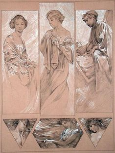"""Mucha, Alphonse Marie -- """"Study for plate 7 from 'Figures Decoratives', 1905 """" -- High quality art prints, canvases, postcards -- Mucha Foundation Prints"""
