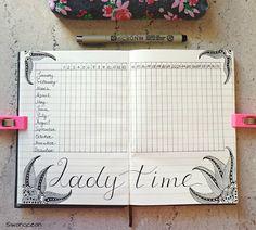 Bullet journal ladytime period tracker drawing zentangle