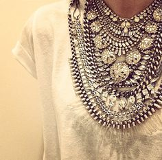 Major statement necklace crystal piece. Details in street style