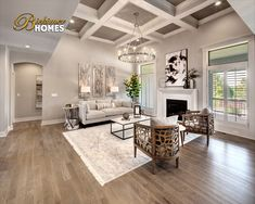 like the coufferd ceiling with the paint in the panels and the color of the flooring New Home Builders, Home Builders, Home, White Oak Hardwood Floors, House Design, Fireplace Design, New Homes, Model Homes, Oak Hardwood Flooring