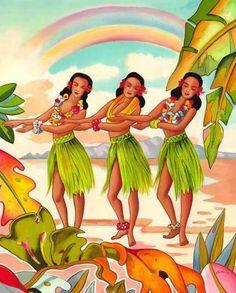 Rainbow Hula Dancer Dancing ~ by Vintage Hawaiian Art