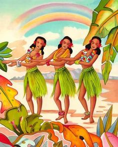 Rainbow Hula Dancer Dancing ~ by Vintage Hawaiian Art