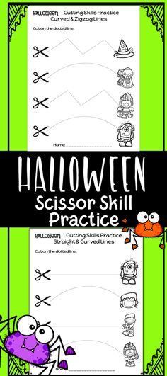 Do your students need extra practice cutting and using scissors? These are perfect for a fun fine motor activity that is great for Preschool, Kindergarten, or occupational therapy ! Included are 45 practice sheets for cutting straight lines, curved lines, zigzag lines, and mixed practice. If you love Halloween, these worksheets are for you! Each page features Creative Clips clip art! Alphabet Worksheets, Preschool Worksheets, Preschool Kindergarten, Cutting Activities, Motor Activities, Theme Halloween, Preschool Halloween, Halloween Crafts, Halloween Worksheets