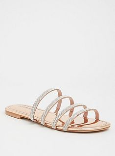Plus Size Rose Gold Rhinestone Pave Sandal (Wide Width), ROSE GOLD