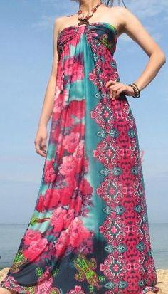 FREE SHIPPING Pink Floral Halter Evening Long Maxi Dress Sundress S M L XL