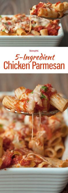 Chicken Parmesan - Healthy Chicken Parmesan Recipe Chicken Parmesan - it has all the flavors of traditional chicken Parmesan with way less fat so you can enjoy guilt-free! Healthy Chicken Parmesan, Chicken Parmesan Casserole, 5 Ingredient Recipes, 5 Ingredient Dinners, Cooking Recipes, Healthy Recipes, Dishes Recipes, Recipies, Tagine Recipes