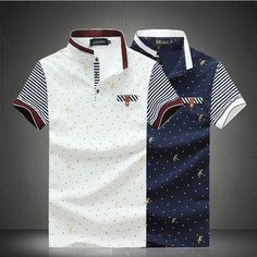 Men s Fashion Cotton US Size Polo Shirt Dot printing Polo Shirts 13e67c13bb206
