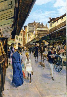 Telemaco Signorini | 1835-1901, Italy | Ponte Vecchio, Florence