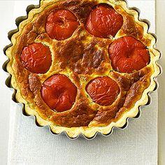 Tomatenquiche Quiche Lorraine, Pepperoni, Pizza, Quiches, Food, Pie, Healthy Recipes, Tomatoes, Bakken