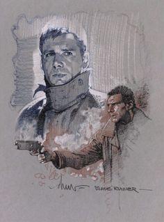 """Rick Deckard"" Blade Runner sketch by Drew Struzan"