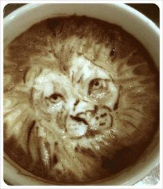 Lion Latte - Someday I shall figure out how to do this! Though that would require actual artistic skills and not just mad barista skills...hmmm