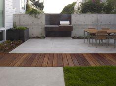 concrete + wood modern patio, dining terrace; Christopher Yates Landscape Architecture