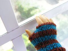 Marine; a pair of striped gloves for 18 inch dolls {by mimiville}