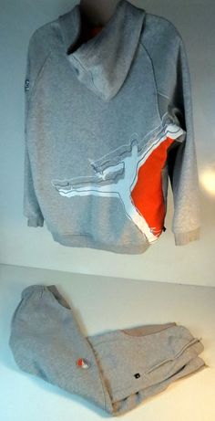 Nike Air Jordan Jumpman Gray Orange Sweatsuit Hoodie Size Large Pants Sz  Medium  Nike   55c926bd2