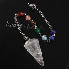 UMY Silber Überzogene Natürliche Bergkristall Hexagon Pyramide Stein Perlen Pendulum Chakra Anhänger Reiki Schmuck