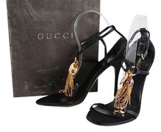 23bfc4a1daa GB1025772K Gucci Black Chain Floral Tassel Ankle Strap Sandals Size 8  Details Professionally reconditioned Dimensions