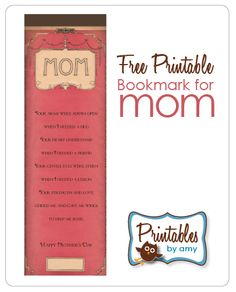 Free Printable Mom Bookmark | Living Locurto - Free Party Printables, Crafts & Recipes
