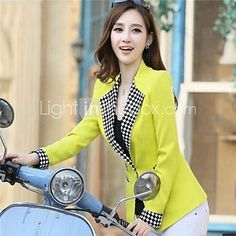 Women's Blue/Pink/White/Yellow Blazer , Bodycon/Casual/Work Long Sleeve 2016 - $13.99