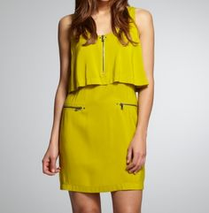 Solid double layer dress with zippers...love the colour and style.