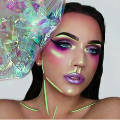 """Holographic"" light play makeup art for Halloween"