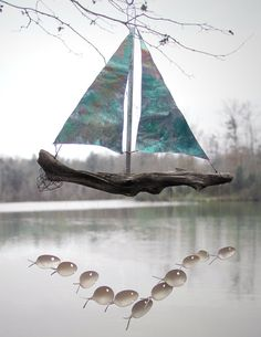 Xl  Spoon Fish and Copper Sailboat Wind Chime by nevastarr on Etsy, $127.00