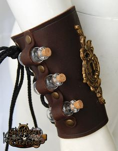 Steampunk The Alchemist Leather Bracer by SkyPirateCreations, Love this idea