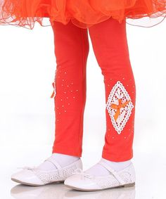 Look at this Red & White Lace Leggings - Toddler & Girls on #zulily today!