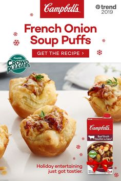 Campbell's® Ready to Use Beef Broth contains only quality ingredients and natural flavors. It is seasoned to perfection to add a rich flavour to your holiday recipes. Tap the Pin to see the trend. Puff Recipe, Puff Pastry Recipes, Dinner Party Appetizers, Appetizer Recipes, Savory Snacks, Holiday Recipes, Food And Drink, Cooking Recipes