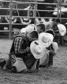 This photo is so appealing to me.  I like cowboys anyway, but praying cowboys .... who could ask for more?  And, then the one cowboy reaching out to the other one as if to give him strength ...... it touches me deeply.