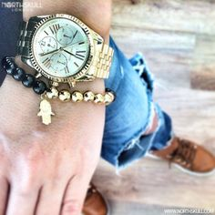 """""""Fan Pic Of The Day !   @Zitadebreczeni Shows Us Her Style With A Michael Kors lexington Watch Nicely Paired With Our Premium Black Onyx & 18kt. Gold Hand…"""""""