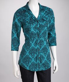 Take a look at this Ryan Michael Peacock Button-Up Shirt - Women by Roper & Ryan Micheals on #zulily today! (Former Pinner) Love this shirt!