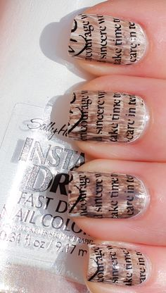 Nice take on Newspaper Nails from LIndsey's Lacquer