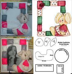 ARTE COM QUIANE - Paps, Moldes, E.V.A, Feltro e Costuras: Porta retrato de feltro com molde