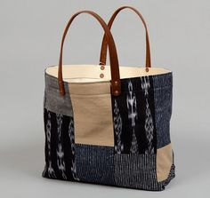 TH-S & Co. Tote Bag With Leather Handles, Patchwork #1 x STANLEY & SONS