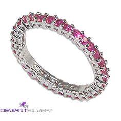 Gioiello fedina in argento 925 con zirconi graffati rubino a tuttogiro.  925 silver jewelry ring with cubic zirconia ruby stapled.  http://www.deviantsilver.com/lovely-pink-fedina-argento-925-gioiello-con-zirconi-graffati-rubino-p-299.html