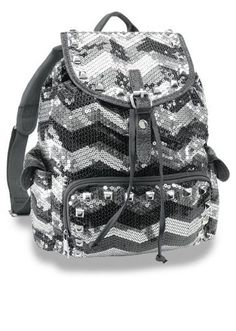 Black   Silver Chevron Design Sequin Backpack! Bling!!!  69.95 + FREE  Shipping! a7f676b4652d6