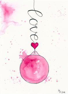 Weihnachtskarten selber machen – Lettering & Aquarell Step by Step + Download Freebie  Kurz vor Weihnachten hießt für mich: Weihnachtskarten selber machen. Weil mir die Mischung aus Lettering und Aquarell der Weihnachtskugel vom letzten Jahr so gut gefäll (christmas art painting)